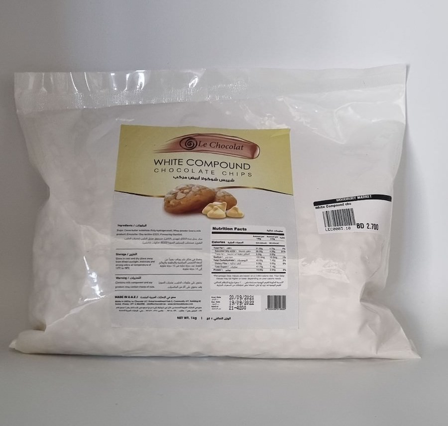 White Compound Chocolate Chips - 1KG